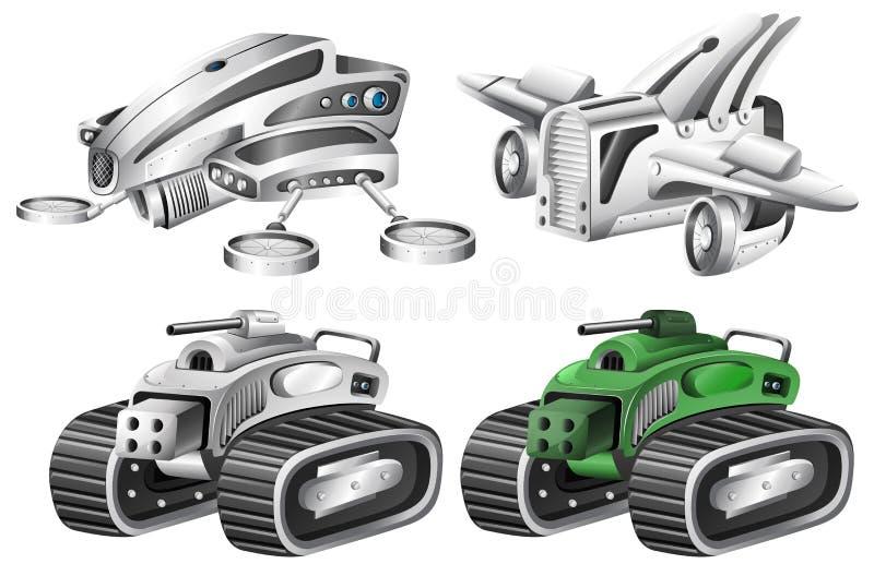 Set of robot car vector illustration