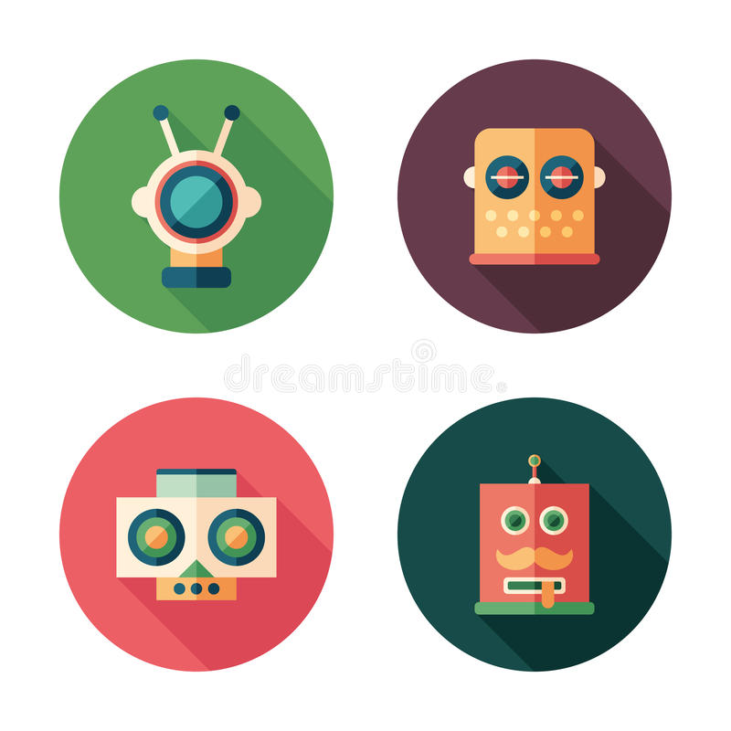 Set of robot heads flat round icons with long shadows. Intelligent robots. Colorful flat round icons stock illustration