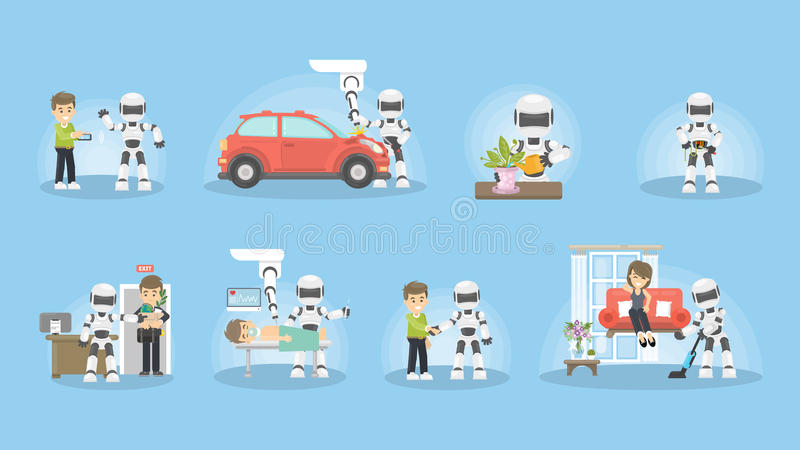 Set robot rutyna ilustracja wektor