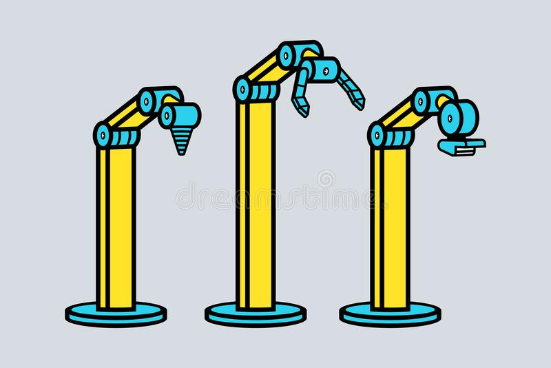 Set of robotic arms vector illustration