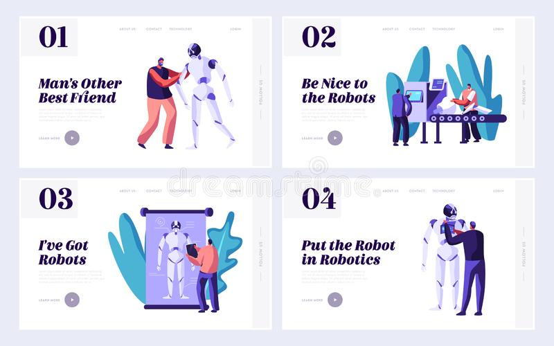 Set of Robotics Website Landing Page Template, Stages of Robots Creation. Engineering Robotics Process in Science Laboratory stock illustration