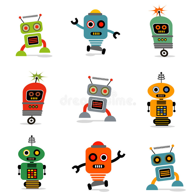 Set of robots 1 vector illustration
