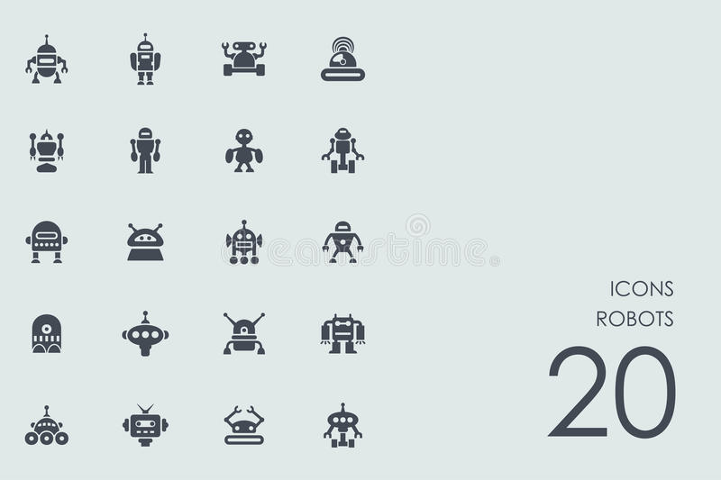 Set of robots icons. Robots vector set of modern simple icons stock illustration
