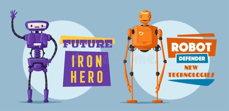 Set of robots. Technology, future. Cartoon vector illustration royalty free illustration