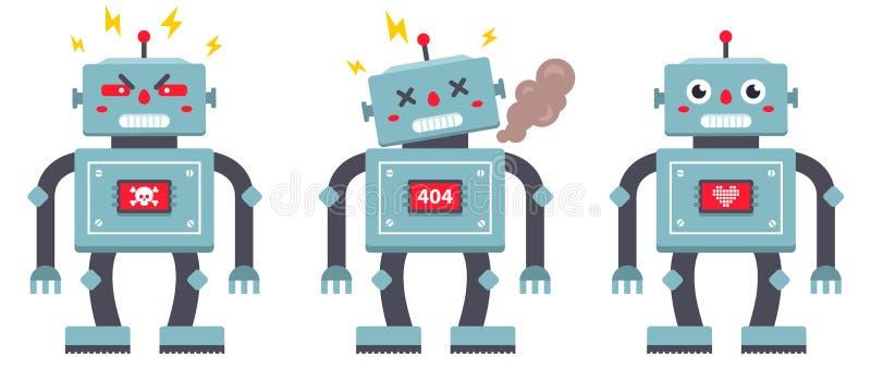 Set of robots on a white background. evil, broken and kind iron cyborg. vector illustration