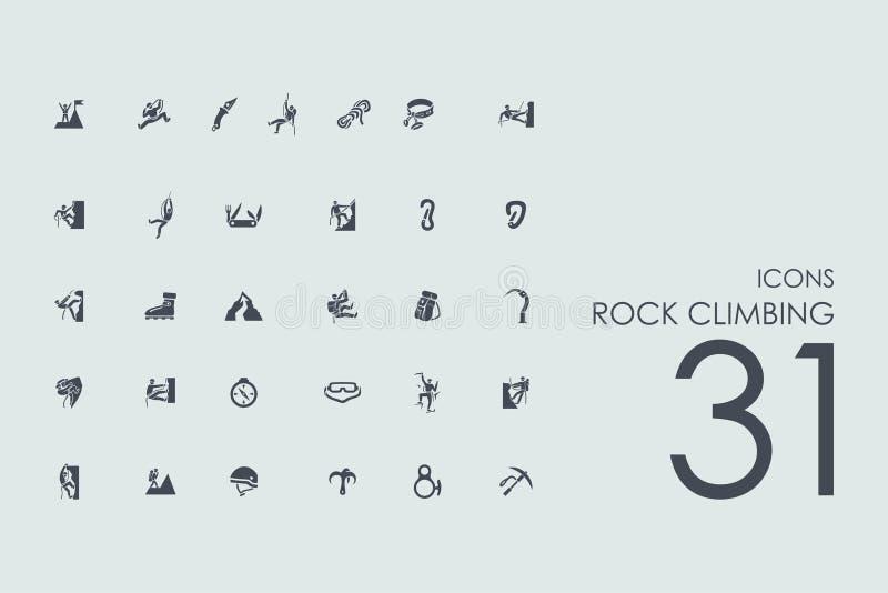 Set of rock climbing icons vector illustration
