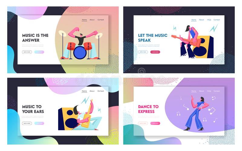 Set Rock Music Players and Girl Dancer. Musical Hobby and Occupation. Guitarist, Drummer and Dancer on Stage. Talented People stock illustration
