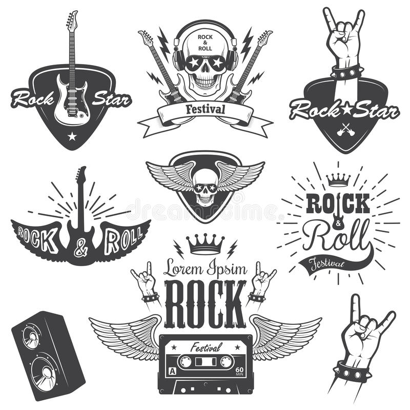 Set of rock and roll music emblems. vector illustration