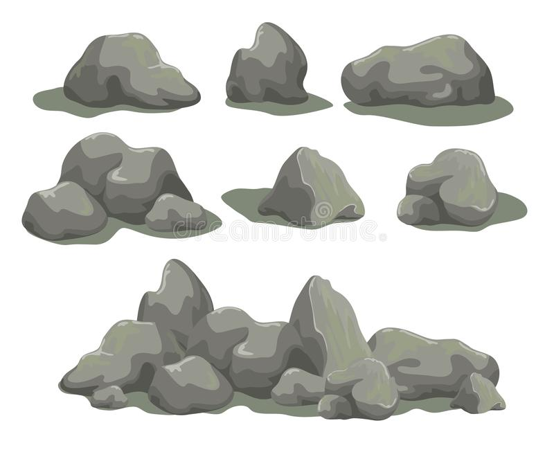 Set of stones. Set of rock stones different shapes and sized. Collection of gray boulders isolated on white background. Stock vector illustration vector illustration