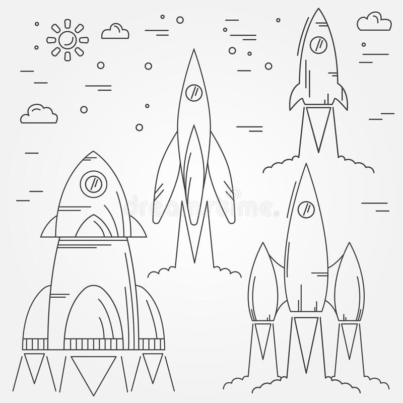 Set rockets thin line icon. Human Space Flight. Vector royalty free illustration