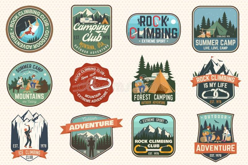 Set Rockowego pięcia obozu letniego i klubu odznaki wektor ilustracja wektor