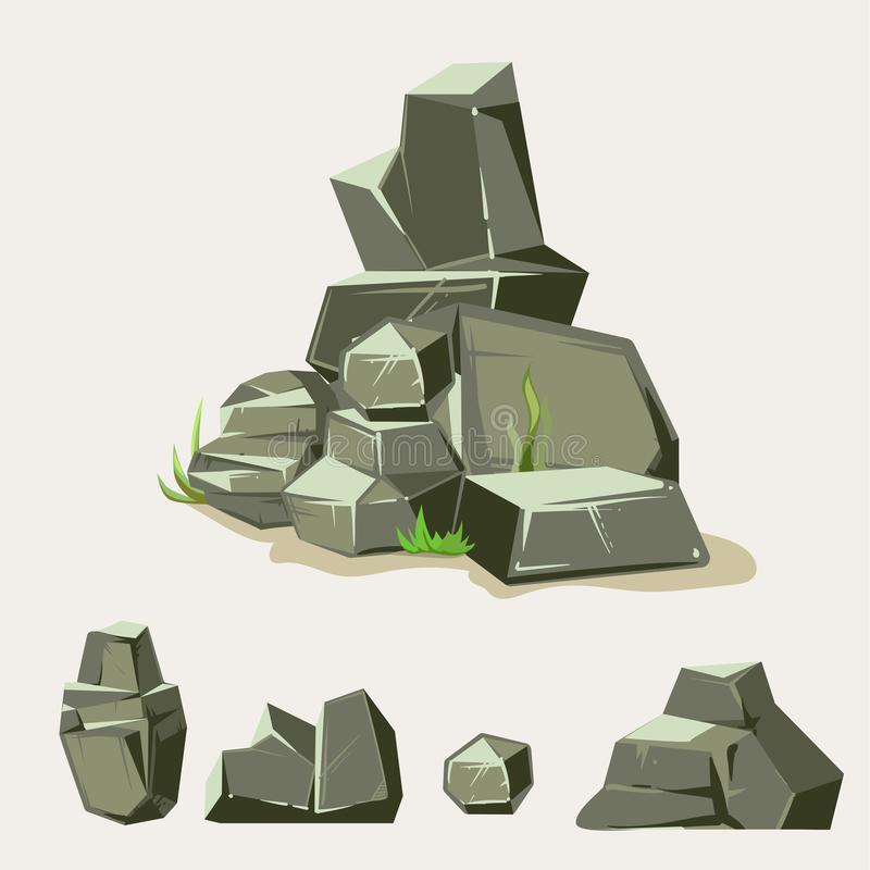 Set of rocks. Rock stone with grass. Cartoon isometric 3d flat style. Set of different boulders vector illustration