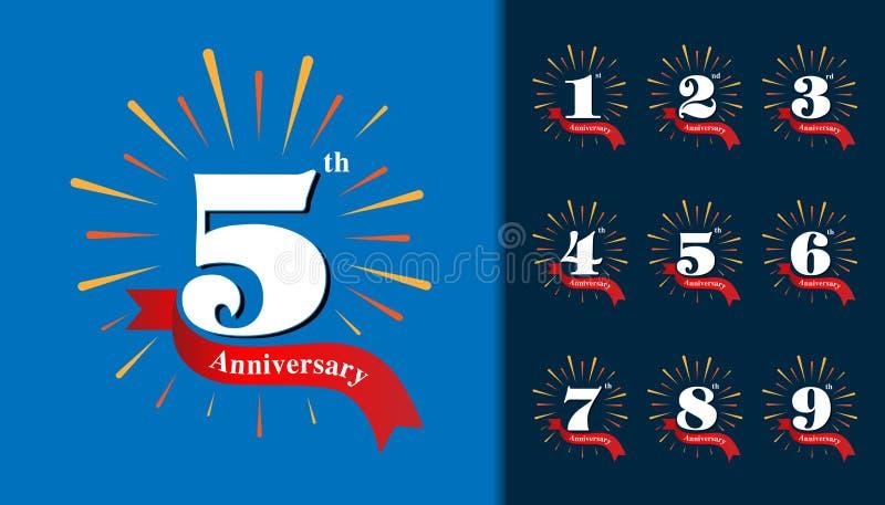 Set rocznicowy logotyp Fajerwerku projekta rocznicowy templa ilustracji
