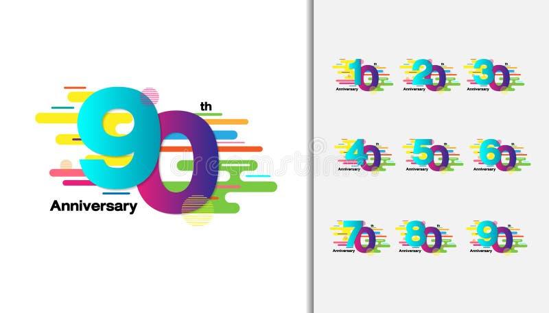Set rocznicowy logotyp Kolorowy rocznicowy świętowanie ic royalty ilustracja