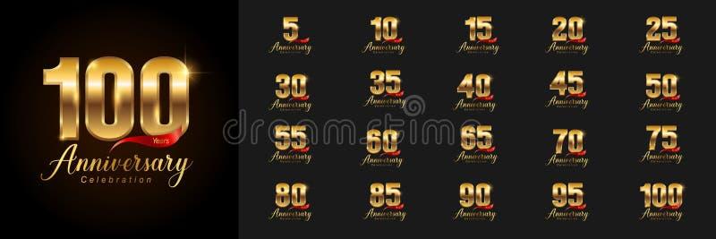 Set rocznicowy logotyp Złoty rocznicowy świętowanie emblemata projekt dla firma profilu, broszura, ulotka, magazyn, ilustracji
