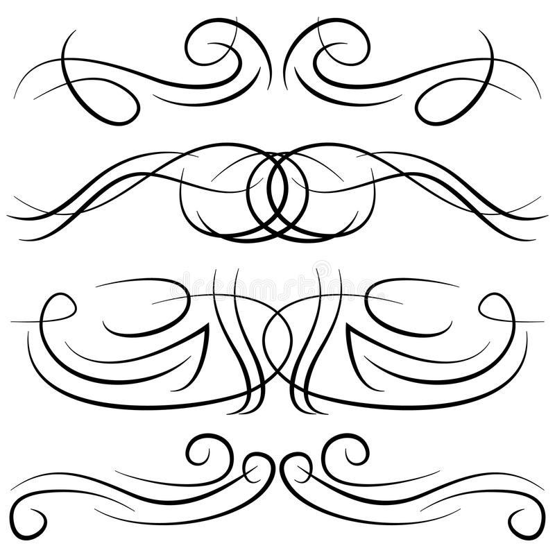 Set roczników dekoracyjni kędziory, zawijasy, monogramy i kaligraficzne granicy, ilustracji