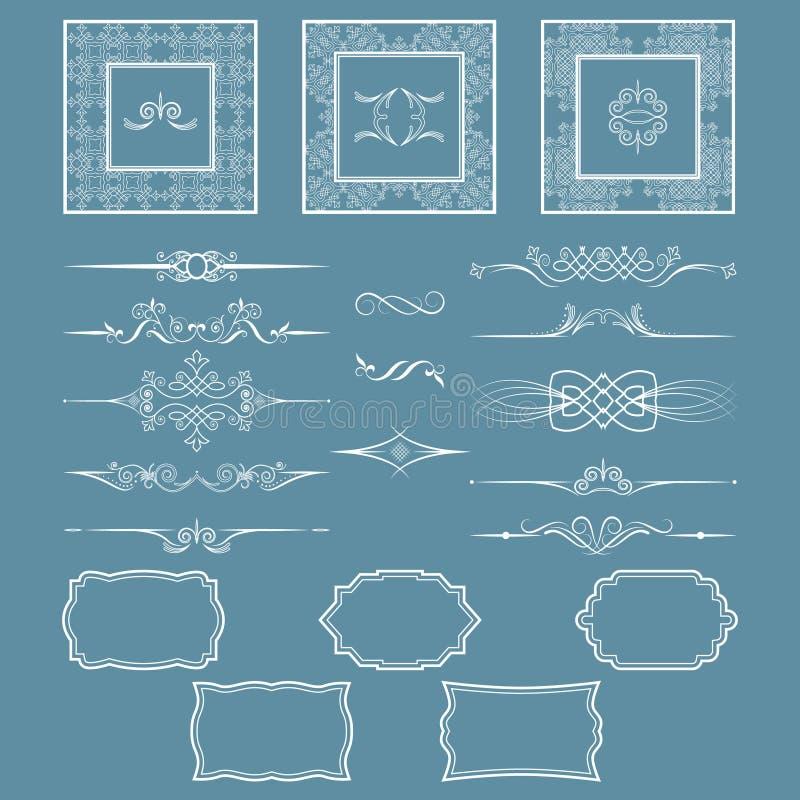 Set roczników dividers i ramy Ty możesz używać powrót dla egzekuci zaproszenia i projekta, fotografie, pocztówki ilustracja wektor