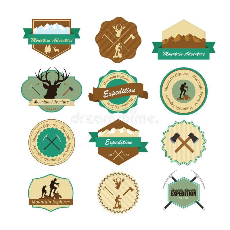 Set roczników drewna obozuje odznaki i podróżuje emblematy ilustracji