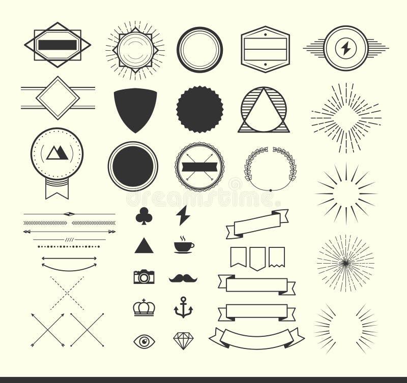 Set roczników elementy dla robić logom, odznakom i etykietkom, royalty ilustracja