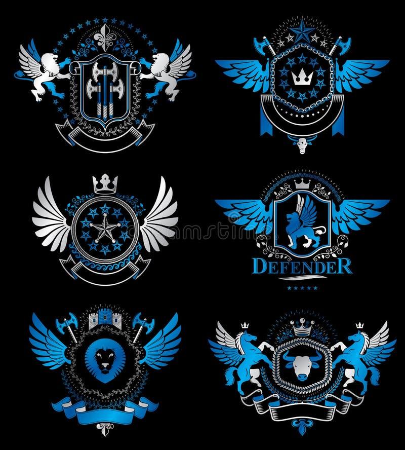 Set roczników emblematy tworzył z dekoracyjnymi elementami l ilustracji