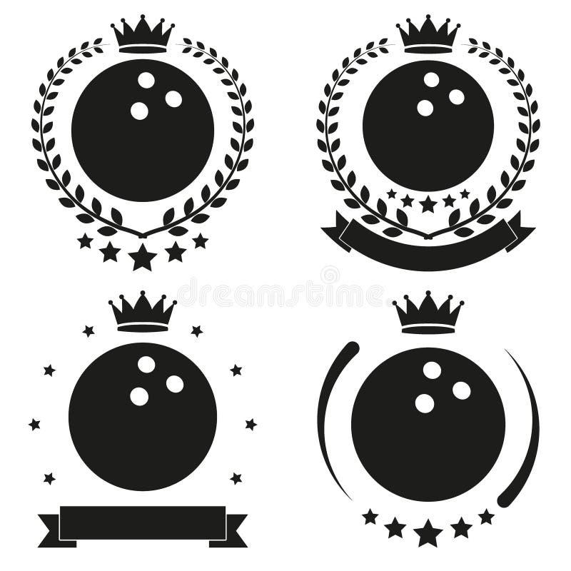 Set roczników kręgli klubu etykietka i odznaka ilustracja wektor