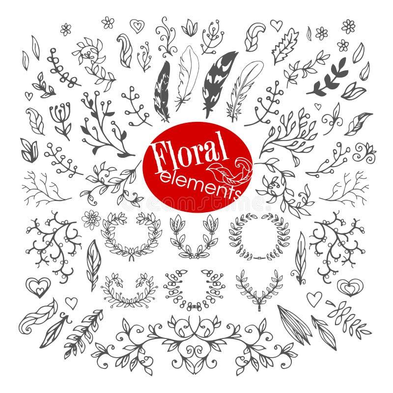 Set roczników Kwieciści kreślący elementy royalty ilustracja
