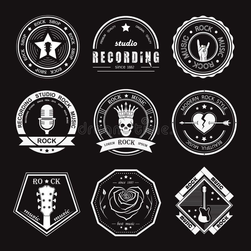 Set roczników logowie muzyka rockowa i rock and roll royalty ilustracja