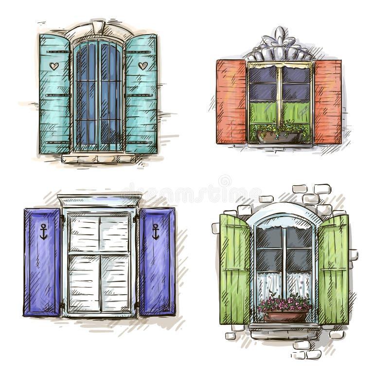 Set roczników okno ręka rysująca ilustracji
