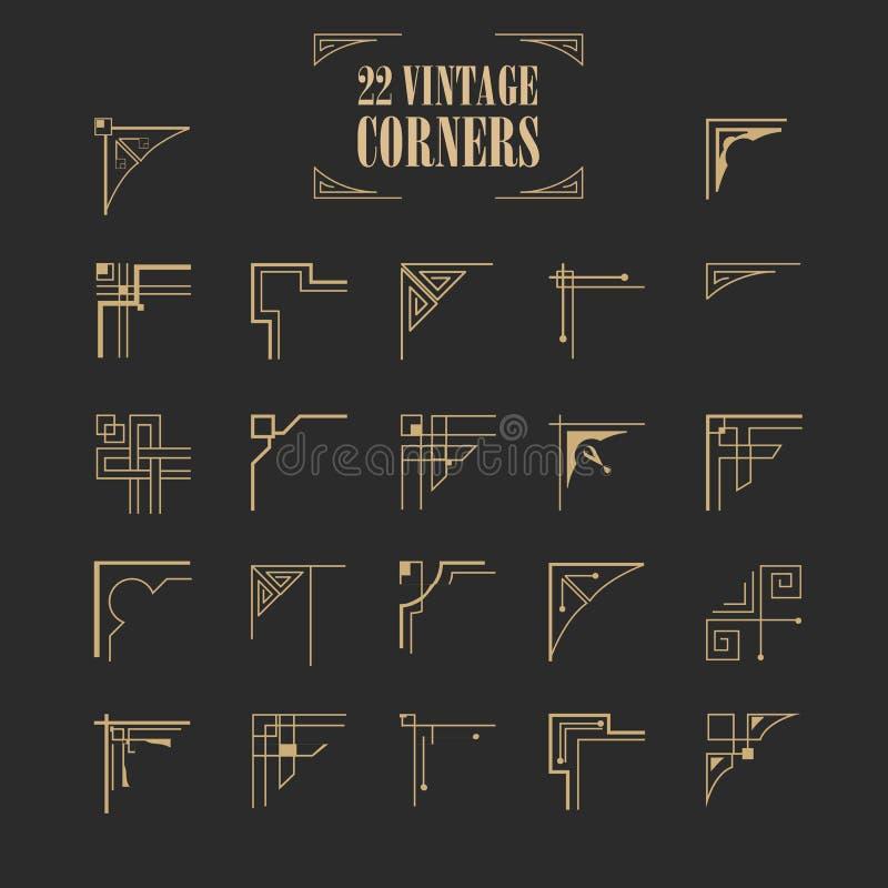 set roczników ornamentacyjni kaligraficzni kąty royalty ilustracja