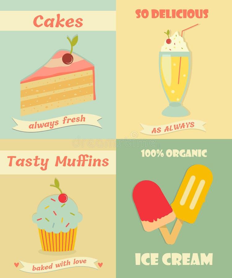 Set roczników plakaty z słodka bułeczka, tortem, lody i milkshake, ilustracji