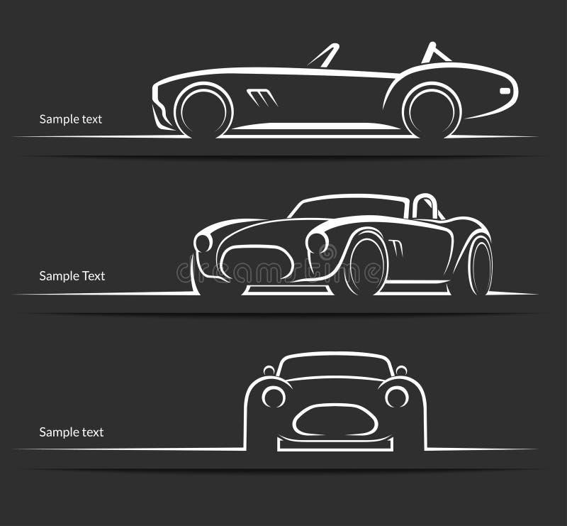 Set roczników sportów samochodu wektoru klasyczne sylwetki royalty ilustracja