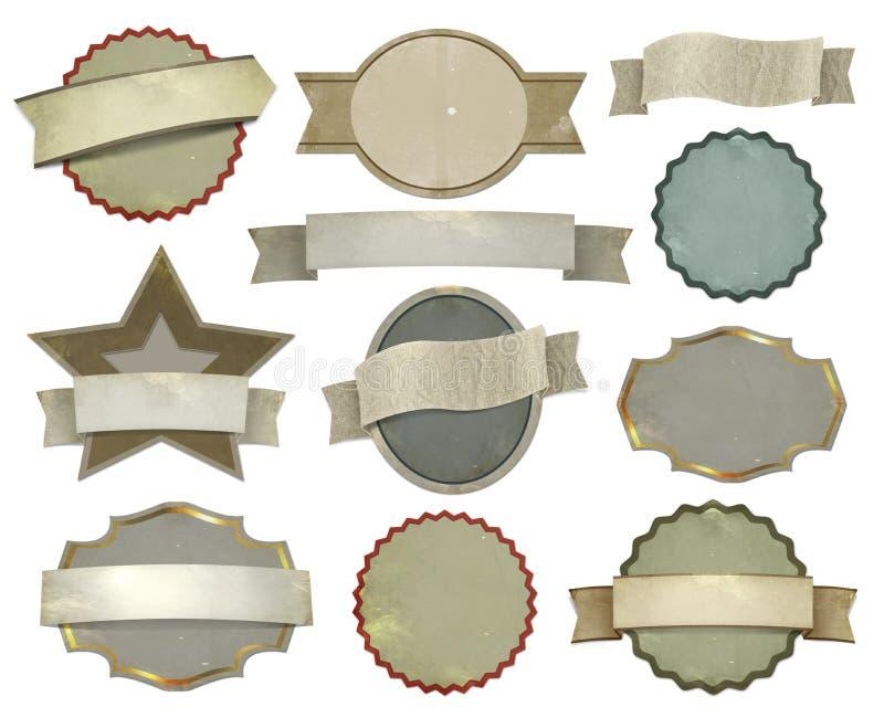 Set rocznik etykietki ilustracja wektor