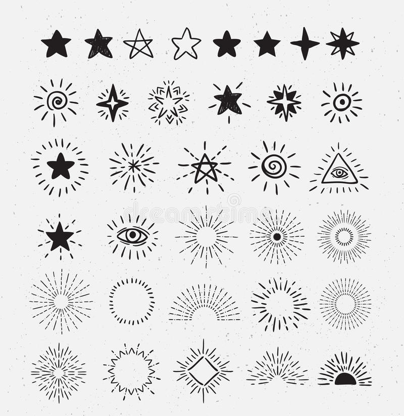 Set rocznik gwiazdy i Sunburst pociągany ręcznie Wektorowi modnisia projekta elementy ilustracja wektor