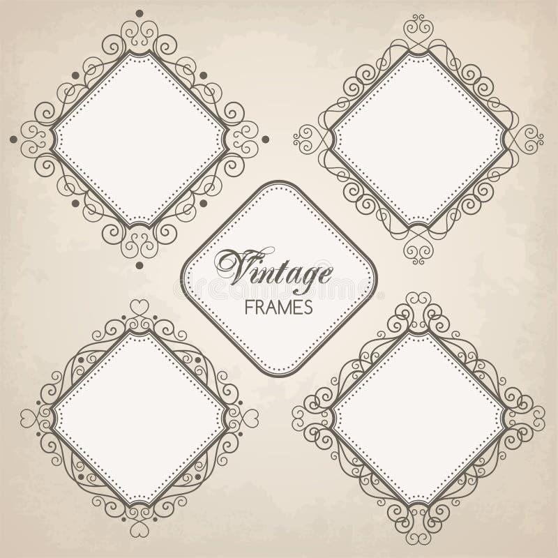 Set rocznik kaligrafii ramy royalty ilustracja