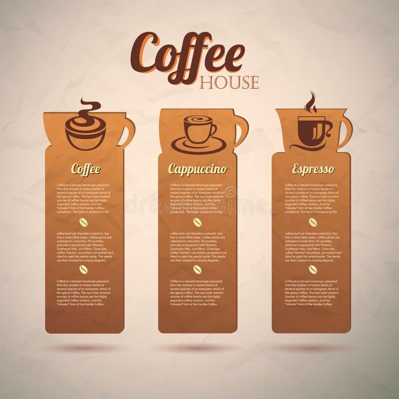 Set rocznik kawy dekoracyjne etykietki royalty ilustracja