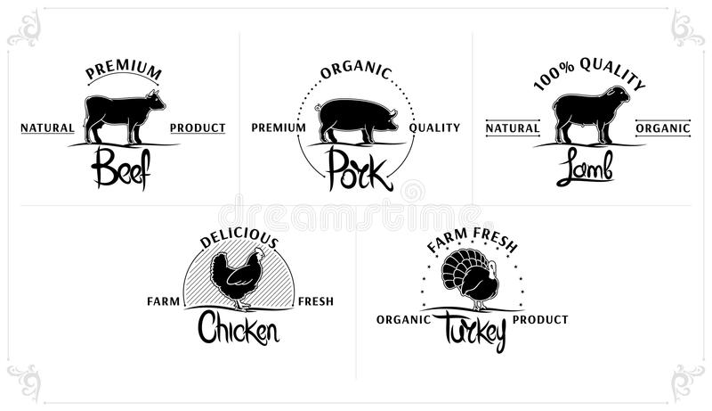 Set rocznik Mięsne etykietki ilustracji