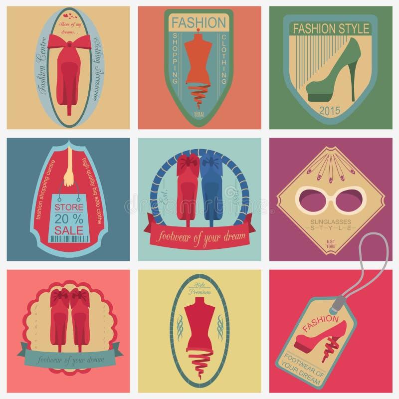 Set rocznik moda i ubrania projektujemy logów Wektorowe logo zastępcy royalty ilustracja