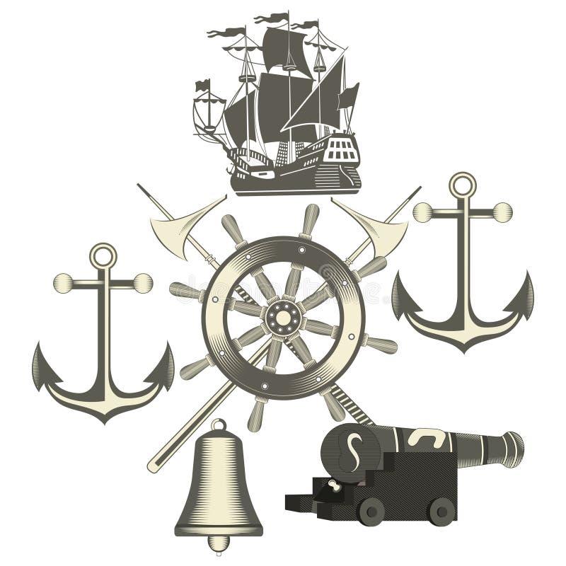 Set rocznik nautyczne etykietki, ikony i projektów elementy, royalty ilustracja