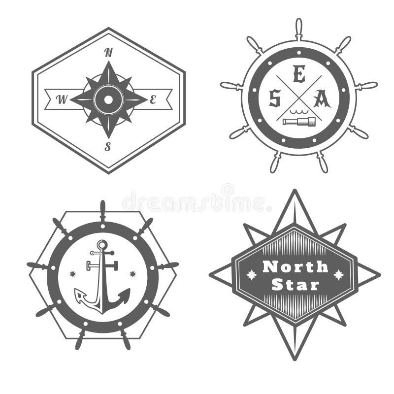 Set rocznik nautyczne etykietki, ikony i projektów elementy, ilustracji