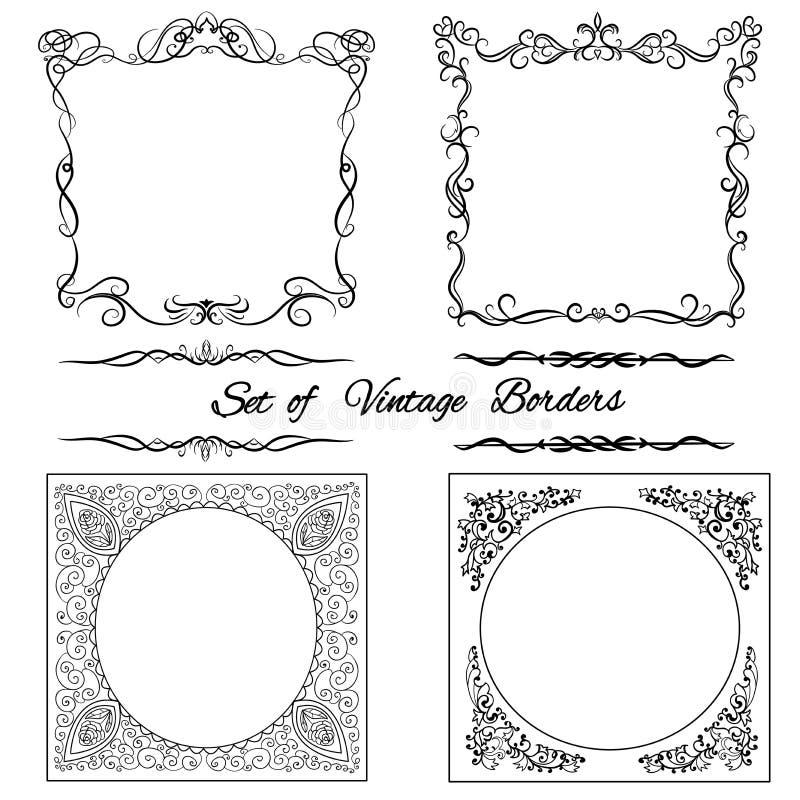 Set rocznik ornamentacyjne granicy (ustawiający 10) royalty ilustracja