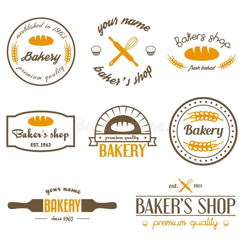 Set rocznik piekarni logowie, etykietki, odznaki i ilustracji