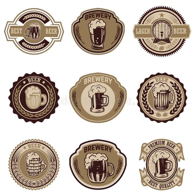 Set rocznik piwne etykietki Projektuje elementy dla loga, etykietka, emblemat, znak, menu ilustracja wektor