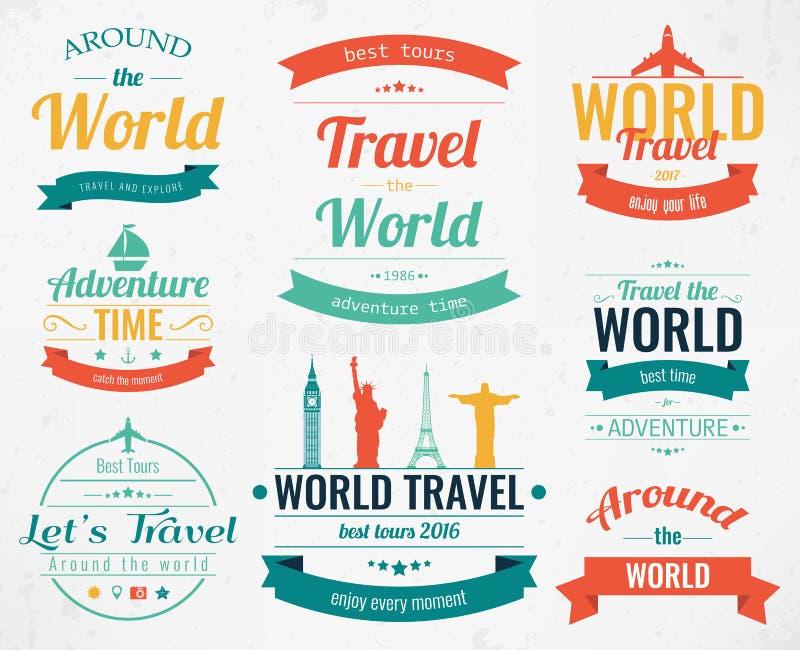 Set rocznik podróży etykietki i odznaki Wakacyjne element ikony Podróż i turystyka wektor ilustracja wektor