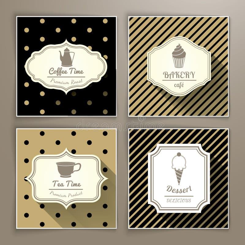 Set rocznik przylepia etykietkę kawowej piekarni herbaty, deseru i ilustracji