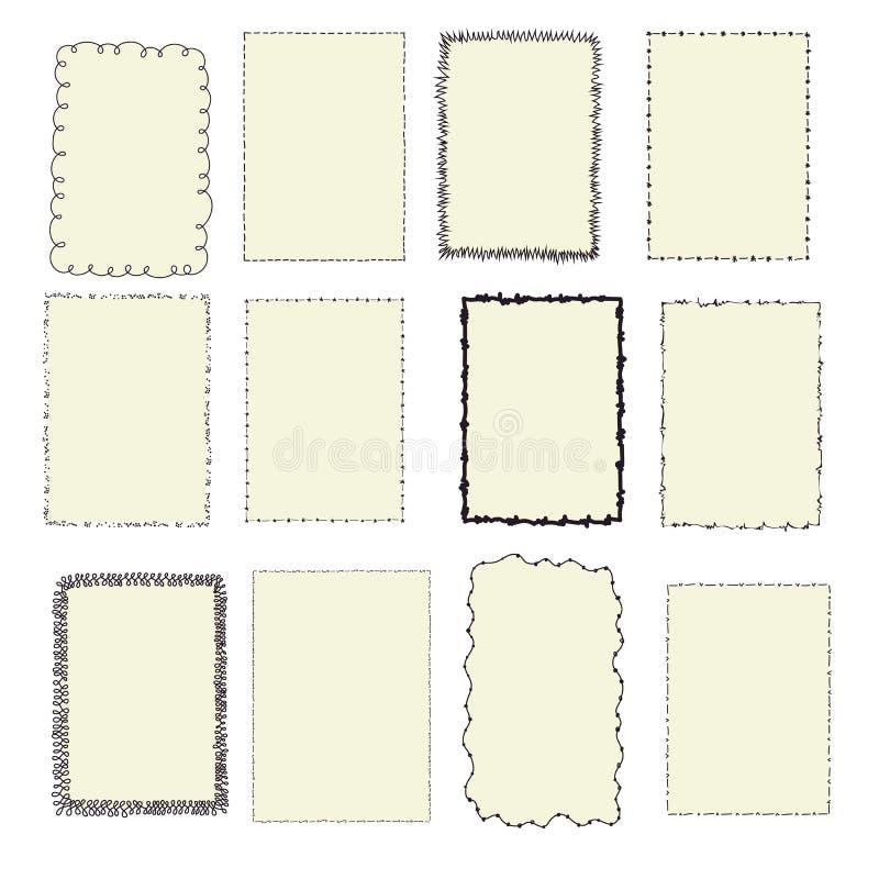 Set rocznik ramy, doodle styl ilustracja wektor