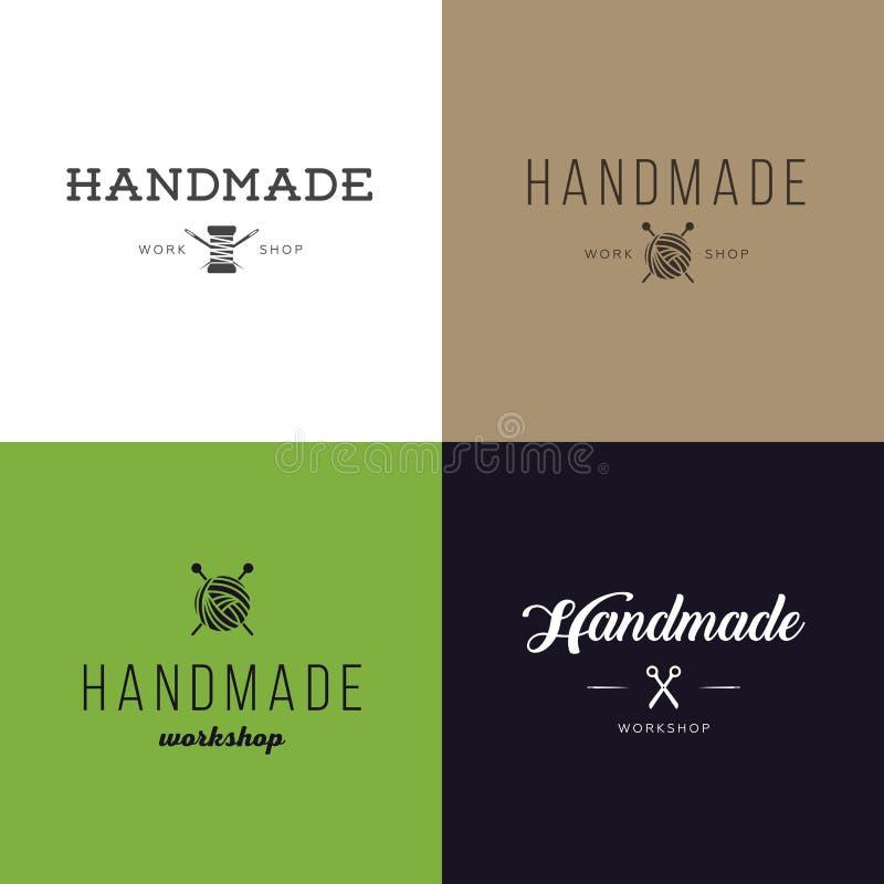 Set rocznik retro handmade odznaki, etykietki i logów elementy, retro symbole dla lokalnego szwalnego sklepu, dzianina klub, hand royalty ilustracja