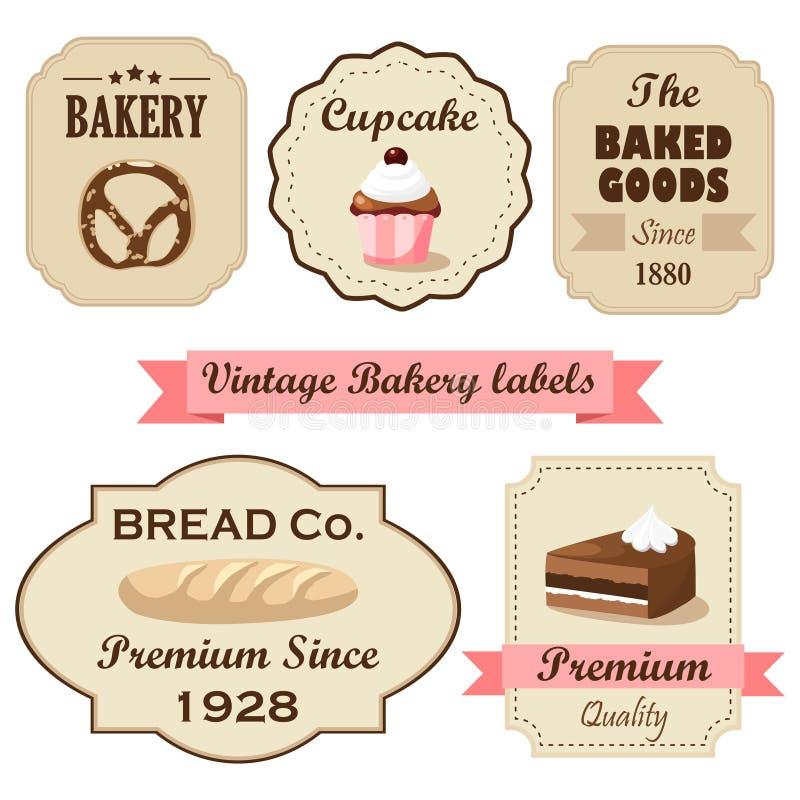 Set rocznik retro piekarnia przylepia etykietkę, znaczki i projektów elementy, odosobnione ilustracje ilustracji