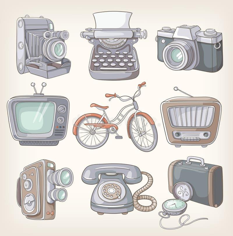 Set rocznik rzeczy royalty ilustracja
