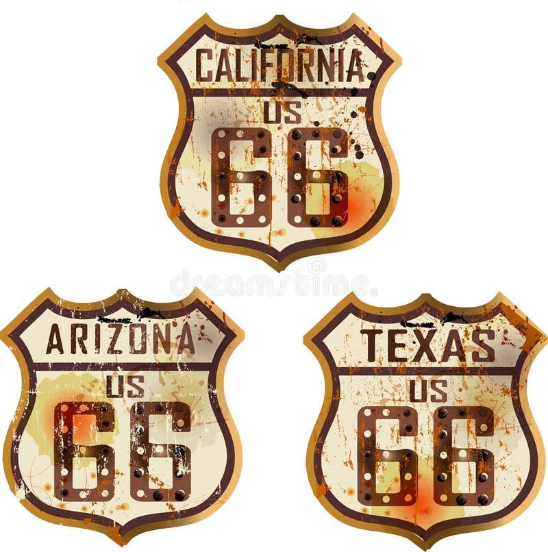 Set rocznik trasy 66 drogowi znaki ilustracja wektor