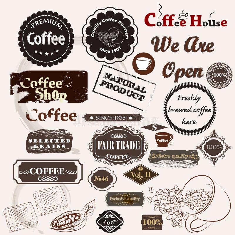 Set rocznik wektorowe kawowe odznaki etykietki i royalty ilustracja